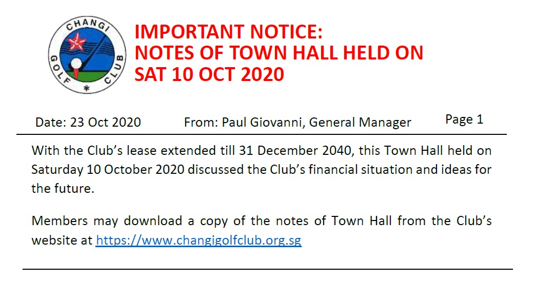 NOTES OF TOWN HALL HELD ON SAT 10 OCT 2020